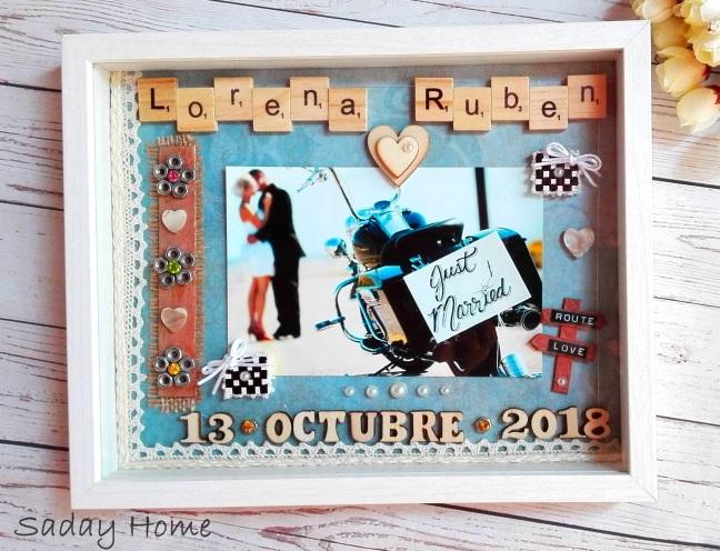 Tenemos otra boda motera🏍️🏍️ !!Marco personalizado para Sonia y Rubén con motivo de su próximo enlace.Que seáis muy felices en vuestra nueva etapa juntos